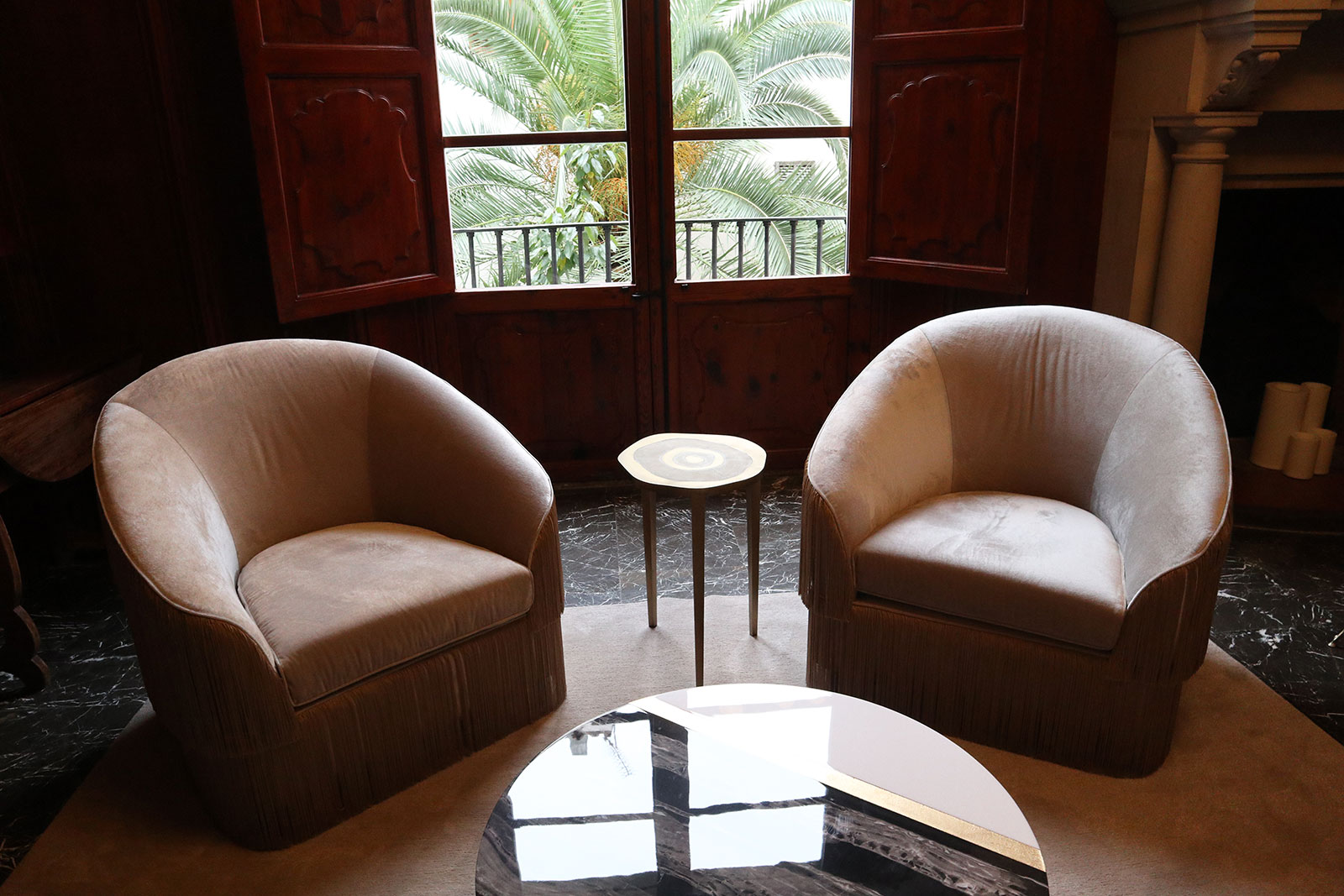 Palacio San Marques outside upstairs suite evokes English club