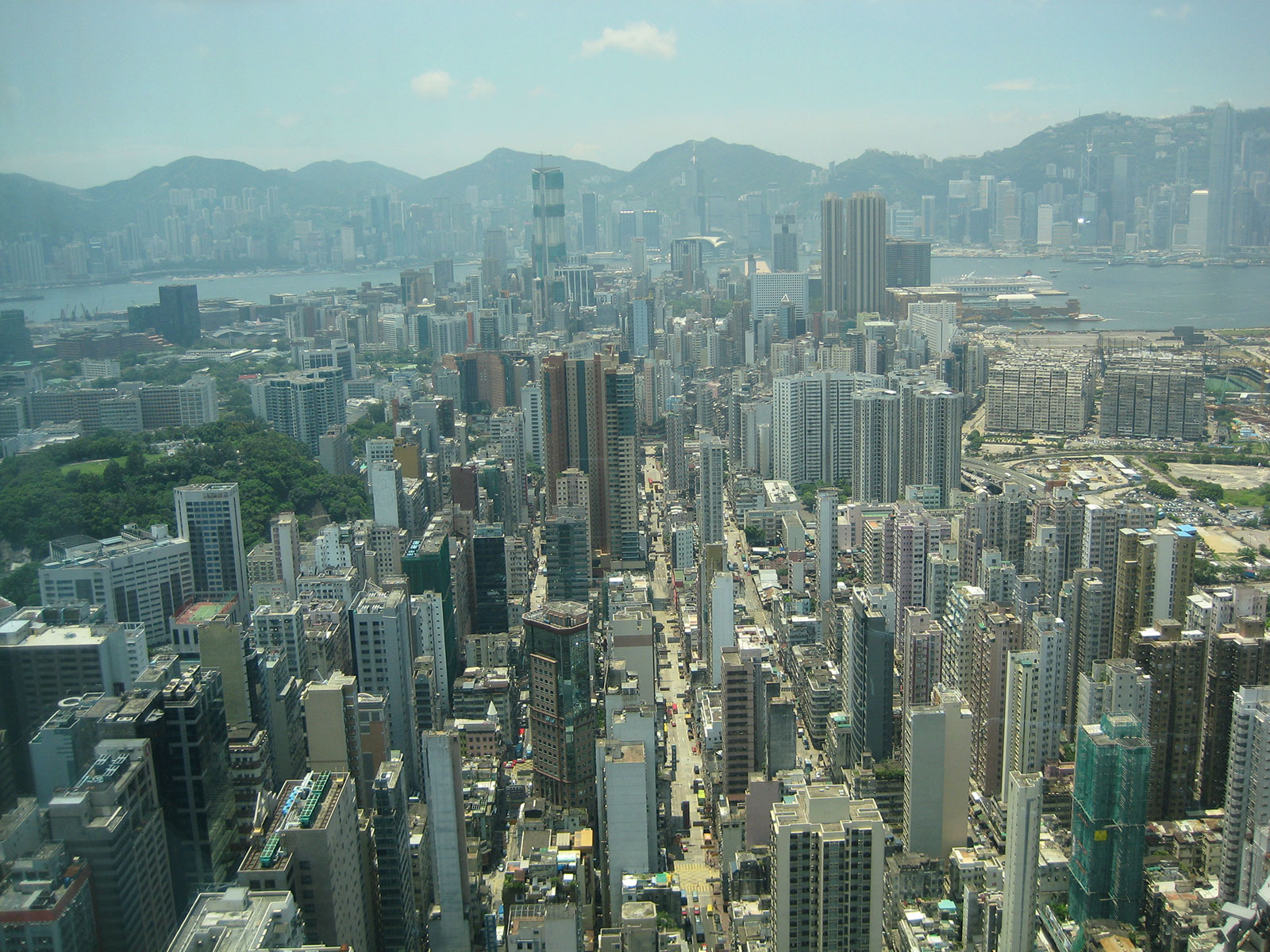 Kowloon and Hong Kong Island seen from the 80th floor of an office building I worked in. Langham Hotel that was.
